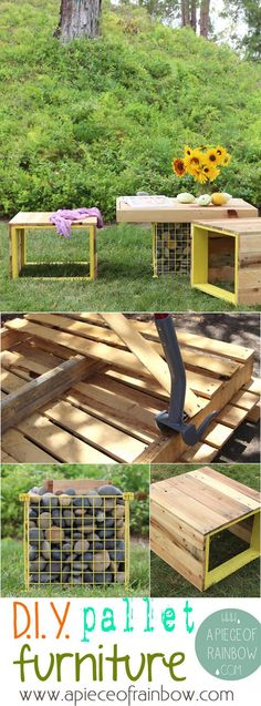 Pallet Bench an Gabion Table | DIY Outdoor Pallet Furniture Instructions by DIY Ready at  http://diyready.com/diy-pallet-projects-outdoor-furniture/
