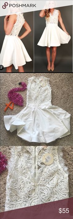 Luxxel Brand : White Lace Skater Dress Super fun dress. NEVER WORN. Brand new with tags. Perfect for a bridal shower, bachelorette getaway or party, graduation or date night dress!! You neeeeed! Dresses Midi