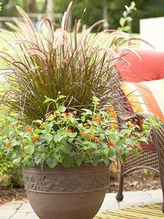 Containers with ornamental grasses provide easy-care drama. For greater impact, combine different textures, heights, colors and plumes. These tough plants will still look great at the end of the season. In containers such as this one, the flowers hide the base of the grass and can be switched out as blooms fade.