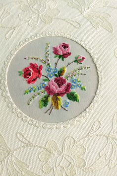 embroidery on vanity tray from Vintage Home