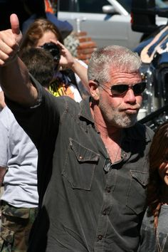 "Who's the man? Ron ""Clay"" Perlman at Boot Ride 2012 benefiting the Boot Campaign! Ron Perlman, Movie Facts, Charlie Hunnam, Sons Of Anarchy, Celebs, Celebrities, Best Tv, Old And New, Beauty And The Beast"