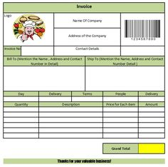 catering-invoice-template-2 | catering invoice templates, Invoice templates