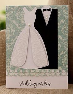 Wedding Card Templates Mozelle: card using wedding dress template. Wedding Cards Handmade, Greeting Cards Handmade, Cute Cards, Diy Cards, Dress Card, Wedding Anniversary Cards, Card Wedding, Free Wedding, Wedding Wishes