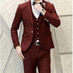 Green Tuxedo Jacket Plaid Suits  Burgundy Wedding Men Clothing Party Prom British Men Suit Plaid Slim Fit (Jacket+Pant+Vest)