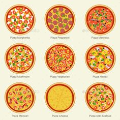 Buy Pizza by bolotov on GraphicRiver. Set of pizza with different ingredients. Vector flat pizza on white background. Pizza Champignon, Pizza Icon, Menu Flyer, Food Clipart, Mini Pizzas, Pizza Ingredients, Kawaii Doodles, Food Concept, Mini Things