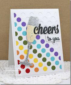Celebratory Greetings Die-namics, Polka Dot Cover-Up Die-namics, Layered Champagne Glass Die-namics - Barbara Anders #mftstamps