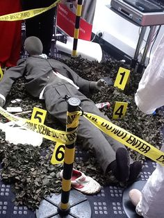 Found this on my feed. Couldn't find where it originated, maybe a CSI convention but is a great inspiration for setting up a crime scene for a house party.
