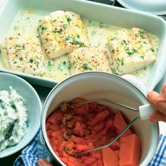 Lemon-baked cod served with mash and a simple home-made tartare sauce.