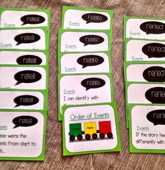 Retell - relate - reflect task cards. Focus on order of events in a story.