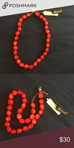 Lucoral Red Coral Stone Necklace This stunning real stone necklace is brand new with tags and has never been worn. Jewelry Necklaces