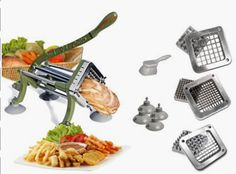 Tiger Chef Heavy Duty Commercial Grade French Fry Cutter with Suction Feet Complete Set - includes and ½ inch and 6 and 8 Wedge Blade and Pusher Blocks with Suction Feet and Cleaning Brush - Restaurant French Fry Cutter Sweet Potato Fries Complet Vegetable Chopper, Vegetable Slicer, Glass Cutters, Potato Slicer, Zucchini Sticks, French Fry Cutter, Potato Cutter, Neutral, Food Service Equipment