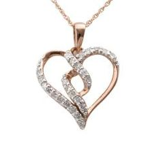 10k Rose Gold 1/4ct TDW Diamond Twisted Heart Necklace (I-J, I2-I3) | Overstock.com Shopping - The Best Deals on Diamond Necklaces