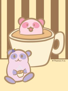 blueberry panda enjoys a cup of coffee. More kawaii panda illustrations on our blog or join our email list for latest releases.