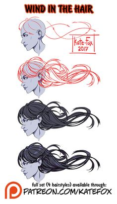 Wind in the hair ref set by Kate-FoX  Support the artist on Patreon!