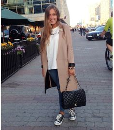 Zara Leather Coat, Chanel Brooch, Chanel 2.55 Maxi Jumbo Bag, Converse Sneakers, Zara T Shirt, Topshop Jeans