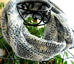Gray Infinity Scarf Crocheted Cowl Warm Winter Fashion by Cozy