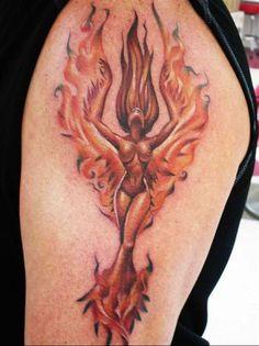 small Phoenix Tattoos for Women | tattoo-ideas-for-women-fire woman