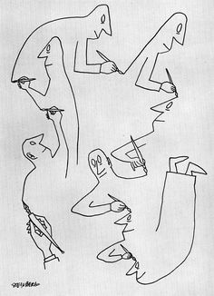 The amazing cartoon world of Saul Steinberg a Jewish Romanian-born American cartoonist and illustrator Saul Steinberg, Art And Illustration, Illustrations, Sketch Manga, Ligne Claire, Grafik Design, Line Drawing, Line Art, Design Art