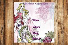 Princess Birthday Party Invitation, Ariel Birthday Invitation, Tangeled Birthday Invitation, Aurora Birthday Invitation, Princess Invitation by AbushelandapecCrafts on Etsy