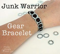 How to Make a Gear Bracelet using Locking Washers and Ribbon by Pretty Handy Girl