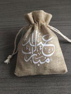 Gift bag Eid Mubarak 5 pieces Arabic Gift Bag Linen Gift