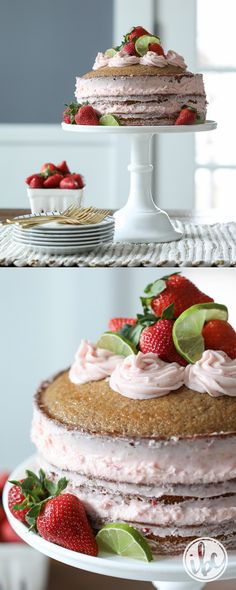 Strawberry Limeade Naked Cake - spring or summer dessert recipe idea - strawberry dessert cake | Inspired by Charm