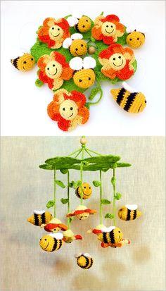 horgolt babaforgó méhekkel és virágokkal, sárga, narancssárga és zöld színekben / crochet baby mobile with bees and flowers in yellow, orange and green colors  #babaforgó #babymobile #méh #bee #virág #flower