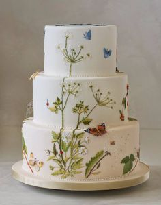 Kristina Rado - summer wildflowers and butterflies, 3 tiers