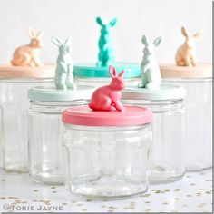 Bunny Topped Jars - Mason Jar Crafts Love