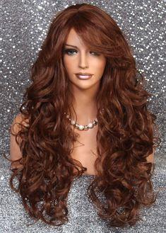 Brown Wigs Lace Hair Blonde Wig Goddess Locs Body Hair Brunette Hair With Highlights Beautiful Wigs Dark Brown Straight Hair Best Shoulder Length Haircuts Brunette Hair With Highlights, Brown Straight Hair, Cut Bangs, Auburn, Natural Hair Styles, Long Hair Styles, Lace Hair, Blonde Wig, Hollywood Glamour