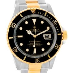 Rolex Submariner Steel 18K Yellow Gold Watch 16613 Box Papers