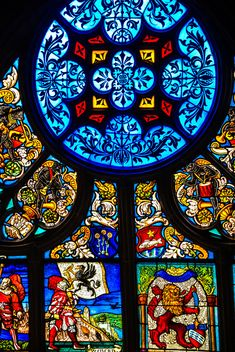 Church Stained Glass Window at the Cathedral Berner Münster Bern Switzerland