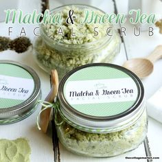 DIY Matcha and Green Tea Facial Scrub with Free Printable - The Cottage Market