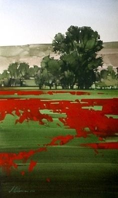 "2006, Meadows Rim by Joseph Alleman Watercolor ~ 20"" x 12"""