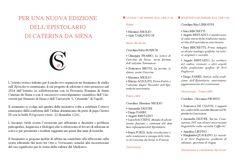 """""""Caterina da Siena. Epistolario"""" Seminario 5-6 dicembre 2016 Roma, ISIME, P.zza dell'Orologio n.4"""