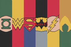 Green lanterne, wonder woman, superman, batman, flash, aquaman cross stitch DC Comics