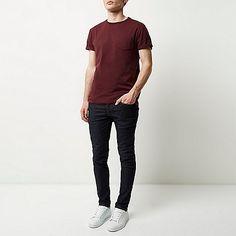 Dark red plain chest pocket t-shirt - plain t-shirts - t-shirts / tanks - men