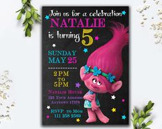 Trolls Birthday Party Invitation Card