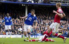 6 April 2014 Wojciech Szczesny half saves a shot from Steven Naismith  and Mikel Arteta, in trying to clear, turns the ball into his own net