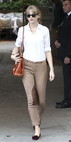 I guess this is a thing. Taylor Swift in Ralph Lauren.       Taylor Swift Wearing Ralph Lauren Blue Label    Taylor Swift wearing the Ralph Lauren Blue Label leather patch jodhpur while shopping at the Ralph Lauren St. Germain store in Paris yesterday.