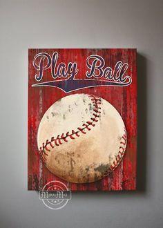 Baseball Art Sports Nursery Canvas Art Baseball by MuralMAX, $51.00