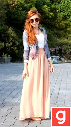 Jean jacket and peach...maybe a bright coral skirt instead