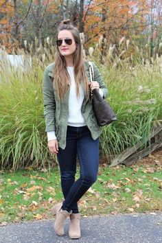 Shop the Look from Altogether Beautiful on ShopStyleHello November! The perfect white sweater to layer under all you. 30s Fashion, Fashion 2018, Autumn Fashion, Fashion Looks, Fashion Outfits, Camo Outfits, Casual Outfits, Cute Teacher Outfits, Military Fashion