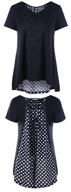 Lace Up Polka Dot High Low T-Shirt