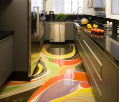3D Floor Art With Epoxy Coating For Kitchen Flooring Should We Install