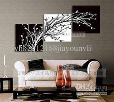 Mayoristas abstractas pinturas negras whitemodern artesanía al óleo sobre lienzo decoración de la pared del arte, envío gratis, $ 39.9/Piece | DHgate