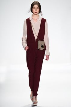 Rebecca Minkoff Fall 2014 RTW. I love this red wine colored jumpsuit paired with the pastel blouse.