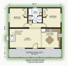 2 Bedroom House Plans Free Awesome Lovely 2 Bedroom Guest House Floor Plans New Home Plans Cottage Floor Plans, Cabin Floor Plans, Cottage Plan, Small House Plans, Small Floor Plans, The Plan, How To Plan, Plan Chalet, House Blueprints