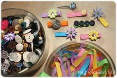 cute idea for a baby shower for girl. have guest to make hair clips for the baby:)