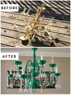 How to update an older chandelier Check out this Upcycled Vintage-Inspired Chandelier! The after is gorgeous! The post How to update an older chandelier appeared first on Vintage ideas. Diy Chandelier, Chandeliers, Outdoor Chandelier, Spray Painted Chandelier, Chandelier Makeover, Repurposed Furniture, Vintage Furniture, Garden Furniture, Outdoor Furniture